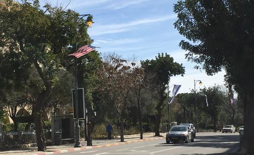 US flags announce Pence's arrival